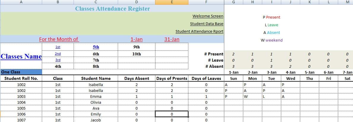 student attendance register