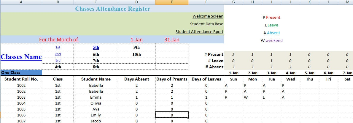 classroom register template