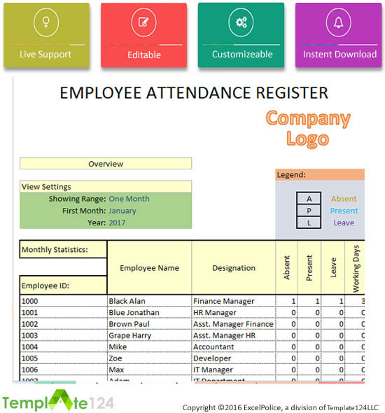 Attendance Sheet For Employees In Excel 2017 Printable Editable – Office Attendance Sheet Excel Free Download