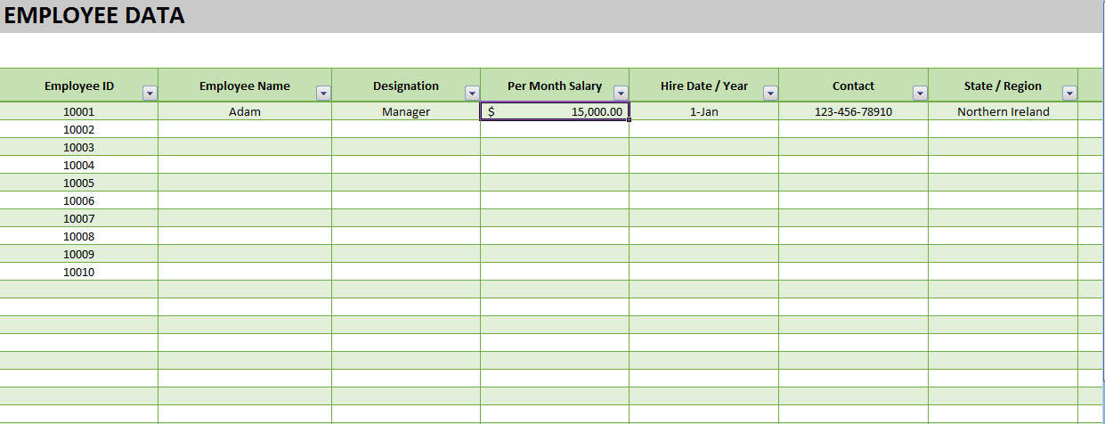 tracking payroll data in excel