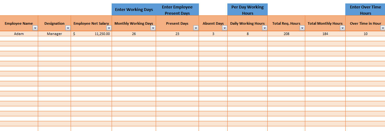 Employee salary slip format excel with payroll tracker for Overtime log template