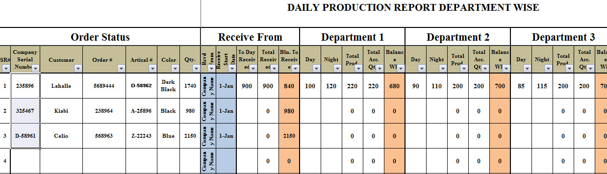 Production Plan Format In Excel Template  Template