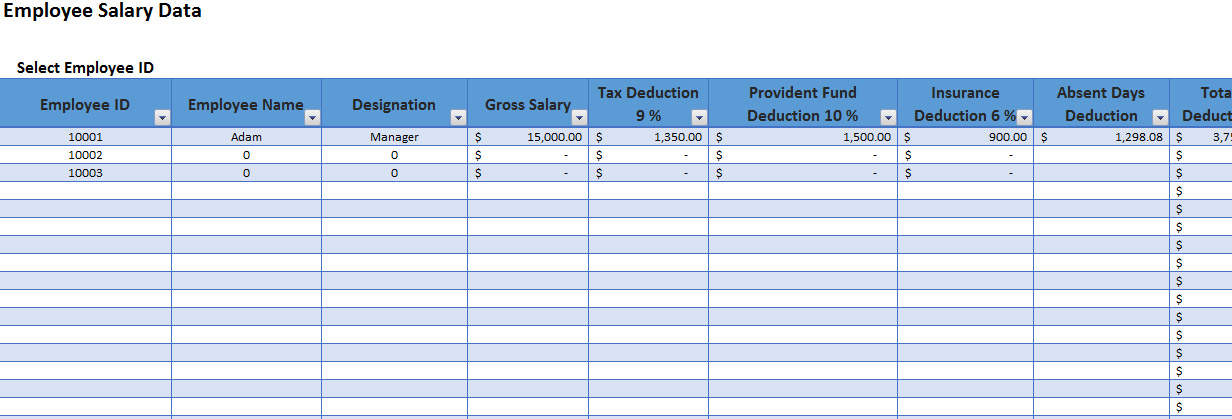 Employee salary slip format excel with payroll tracker for Salary history template hourly