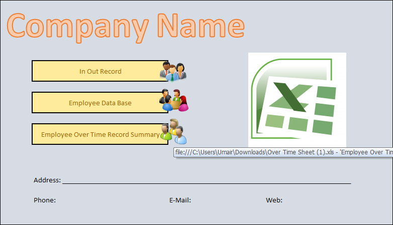 Employees Timesheet with Overtime Tracker Excel | Template124