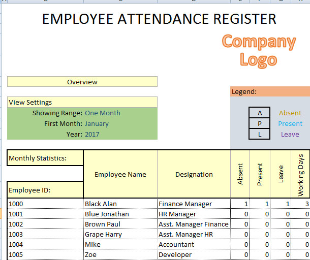 Daily Employee Attendance Sheet in Excel 2017 – Office Attendance Sheet Excel Free Download