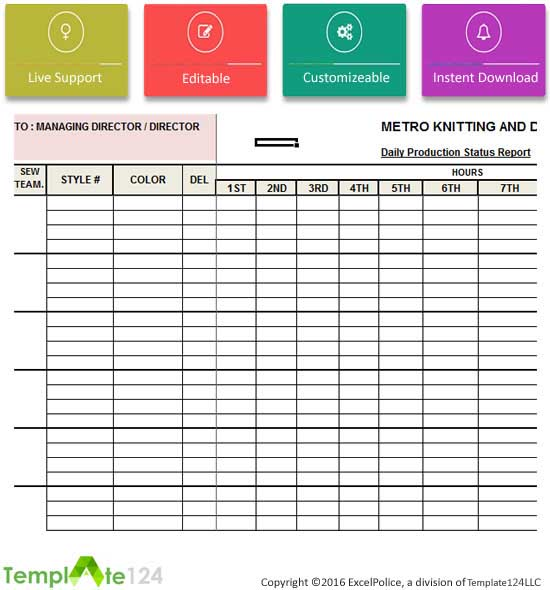 Daily Production Status Report Template Excel  Template