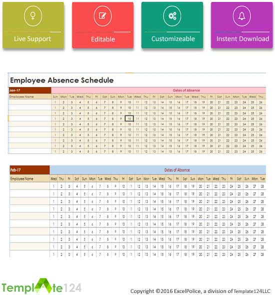 Employee Absent Schedule Template Excel | Template124