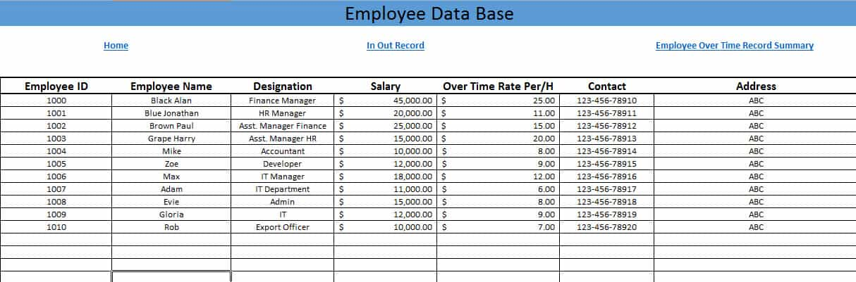 Employee Payroll Record Template Printable Employee Payroll