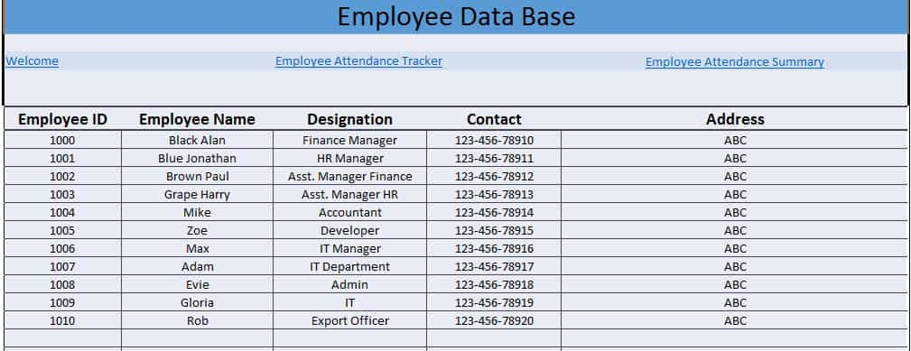 Daily Employee Attendance Sheet in Excel 2019