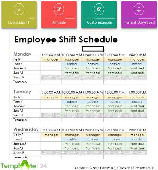 Weekly Employees Duty Roster Format Excel Template124