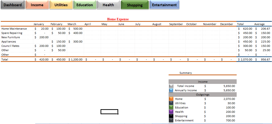daily expenses excel