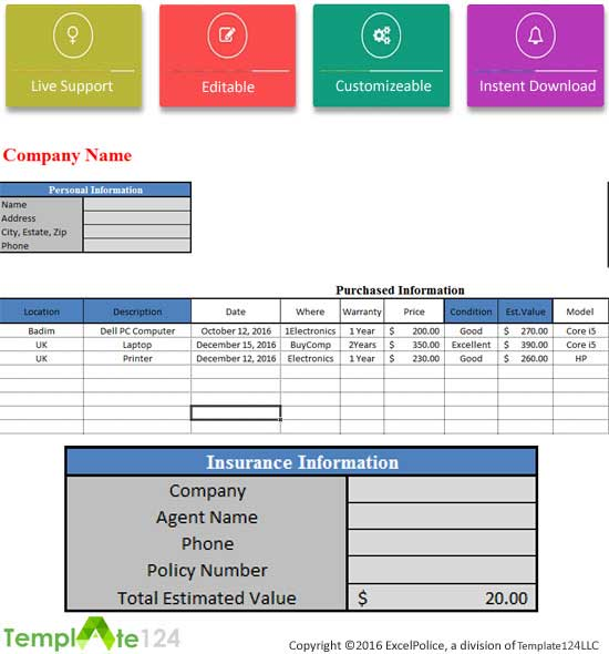 Purchase Inventory Template Excel – Company Inventory Template