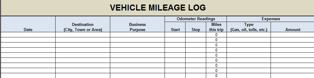 gas mileage log