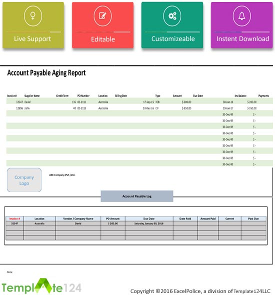 account payable aging report template