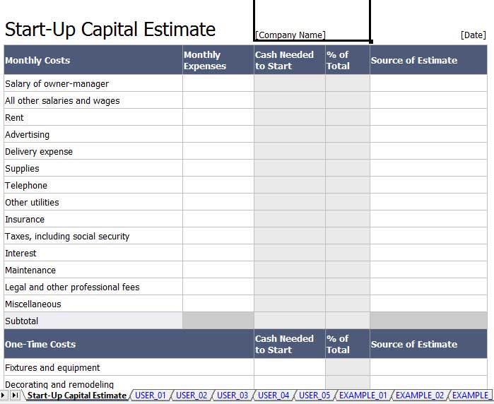 start up capital template - 5 capital expenditure budget template excel template124