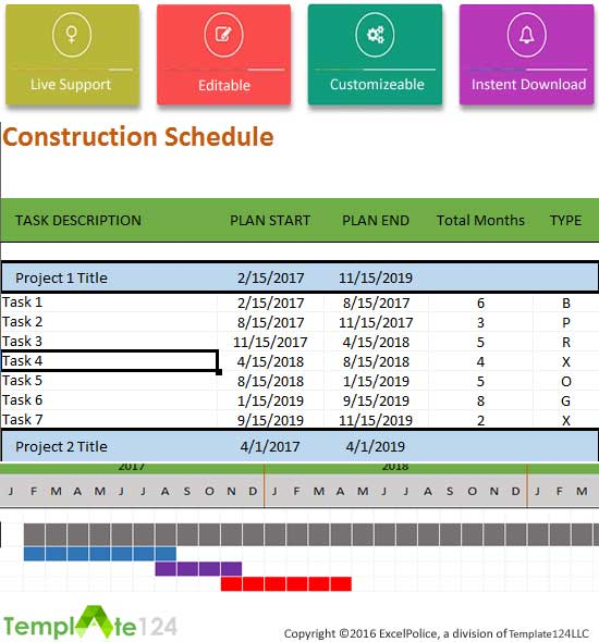 construction schedule template excel for project