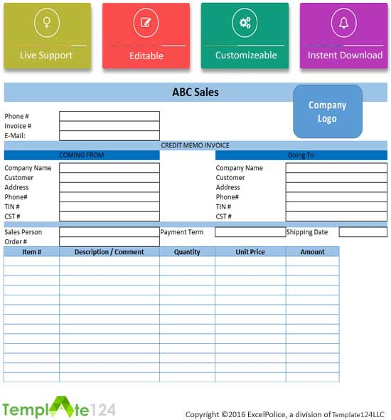 Best Credit Note Template Excel WordPDF Template - Credit invoice template
