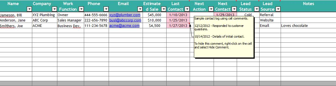 contacts spreadsheet template - 5 excel customer relationship management template