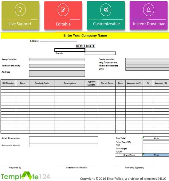 8 debit note format in excel review template124