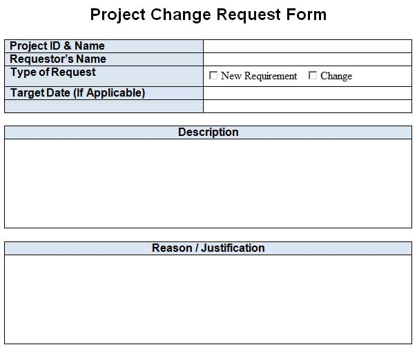 Project Change Request Template Excel Word  Template
