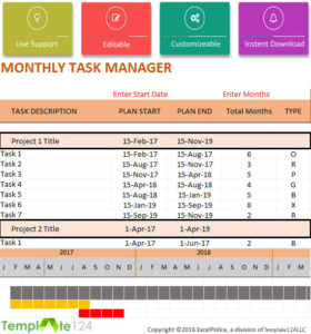 Excel Monthly Project To Do List Template {2013 2016}
