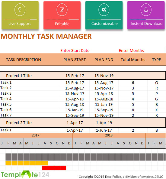 Monthly Project Task Manager Template {Xlsx Format} | Template124