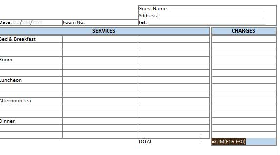 creating hotel bill format in ms word-excel | template124, Invoice templates