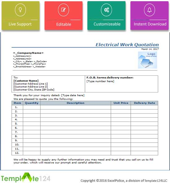 Electrical Work Quotation Format Word Excel Template124