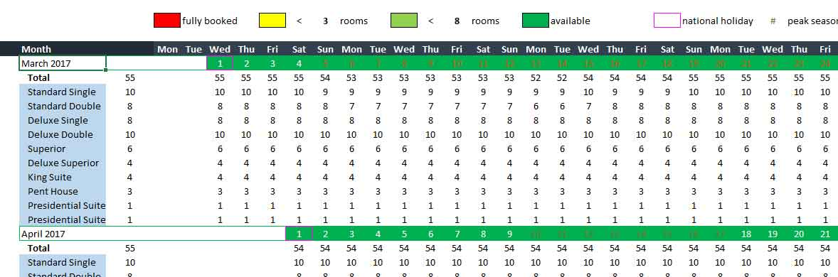 Hotel room booking template excel xlsx format template124 for Accommodation booking form template