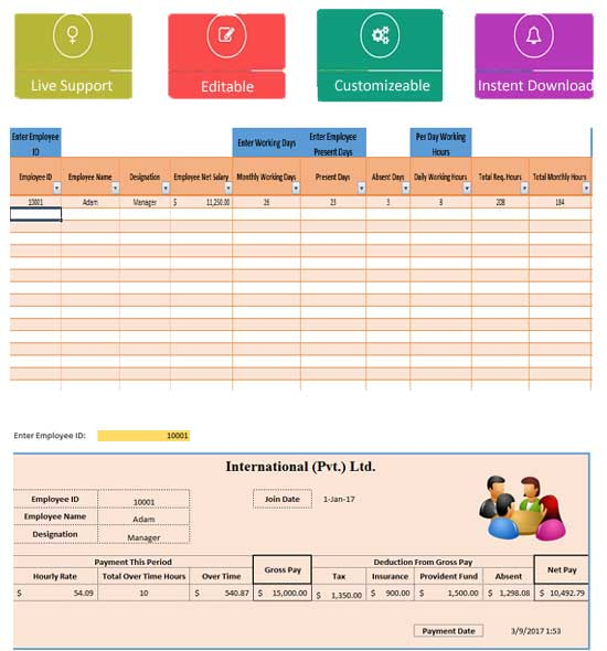 monthly salary sheet excel template