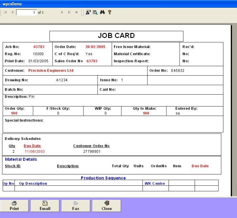 Job Card Estimate Template