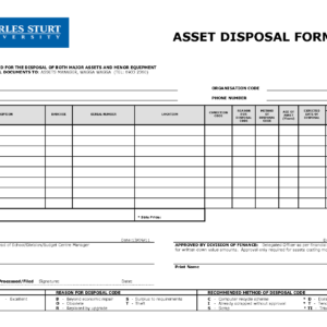 Scrap Disposal Form Template