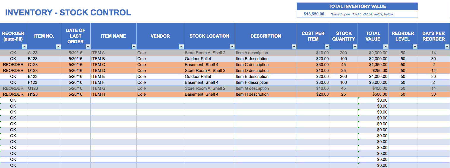 Inventory Stock Control Template Excel