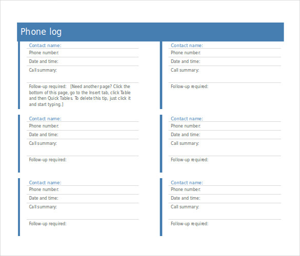 Phone Log Templates  Word Excel Pdf Formats  Template
