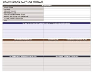Construction Daily Report Template Format